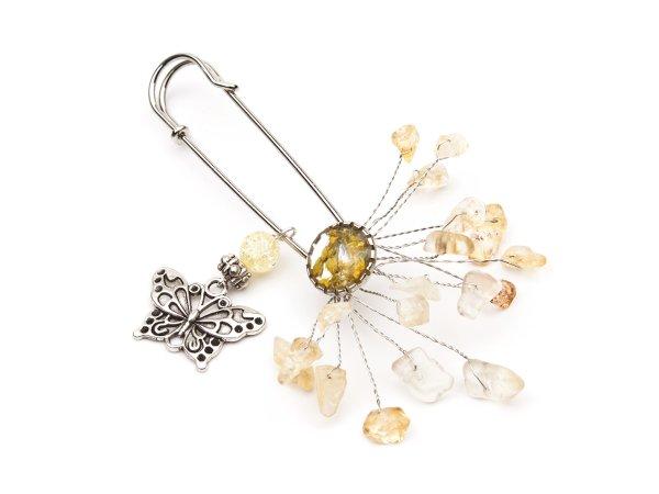 Брошь-булавка из сухоцвета в эпоксидной смоле, с цитрином, с бабочкой