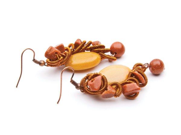 Серьги из агата и коричневого авантюрина