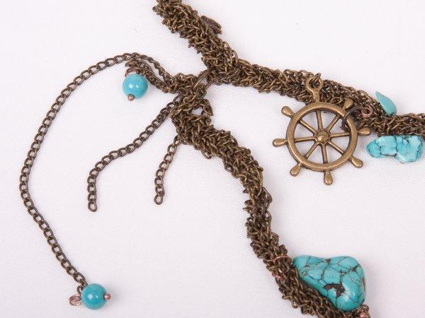 Колье из морской звезды и бирюзы