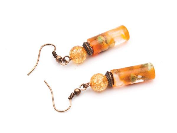 Серьги с цветами в эпоксидной смоле с кварцем, оранжевые
