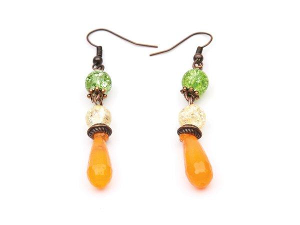 Серьги оранжевые капли из эпоксидной смолы с желтым и зеленым кварцем