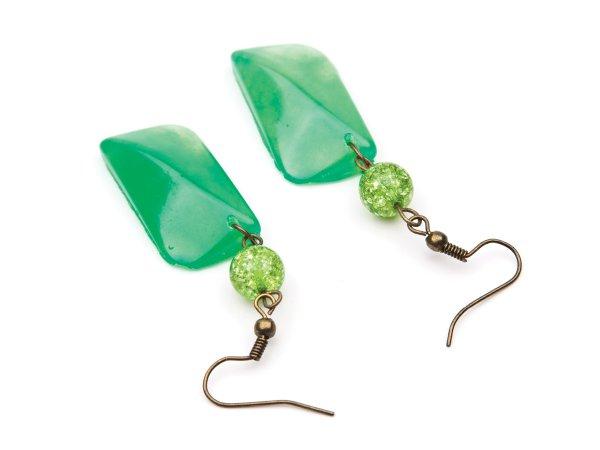 Серьги зеленые из эпоксидной смолы с кварцем