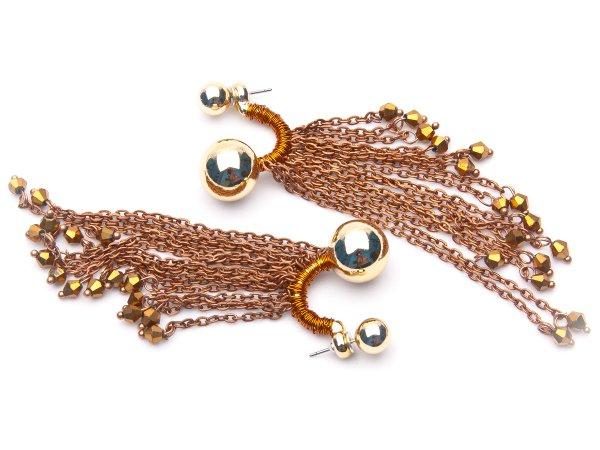 Серьги-гвоздики с цепями и стеклярусом