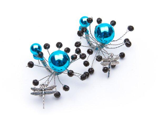 Серьги-гвоздики голубые