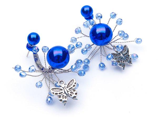 Серьги-гвоздики синие