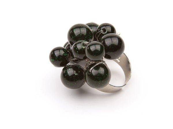 Кольцо из зеленого авантюрина с бабочкой