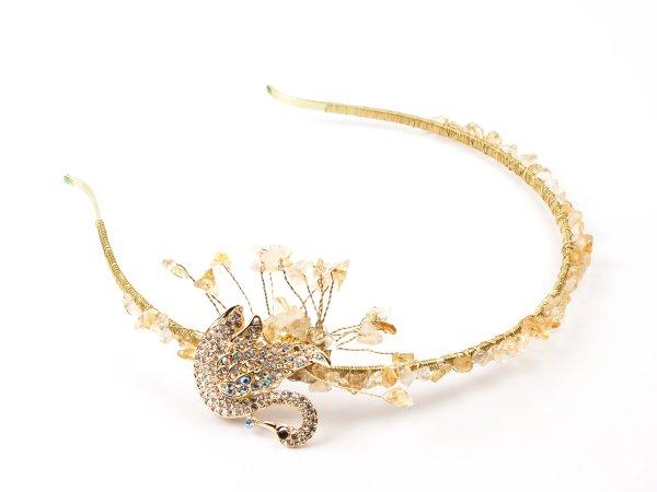 Ободок из цитрина с золотым лебедем
