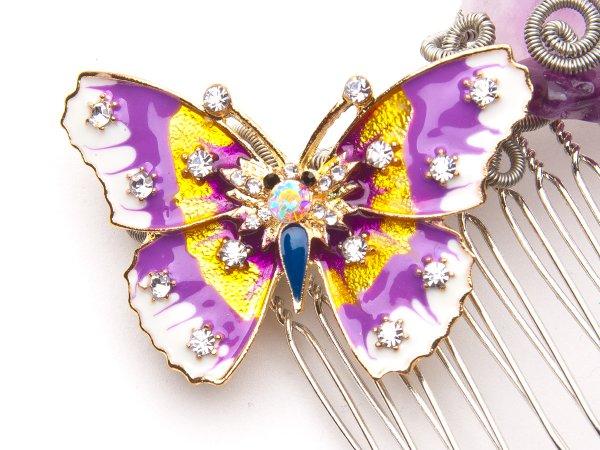 гребень из аметиста с бабочкой