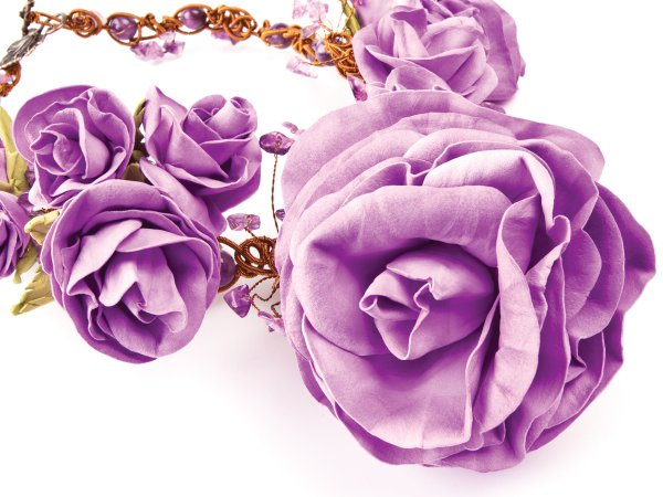 """Колье """"Лесная нимфа"""" из аметиста и роз, сделанных вручную из фоамирана"""