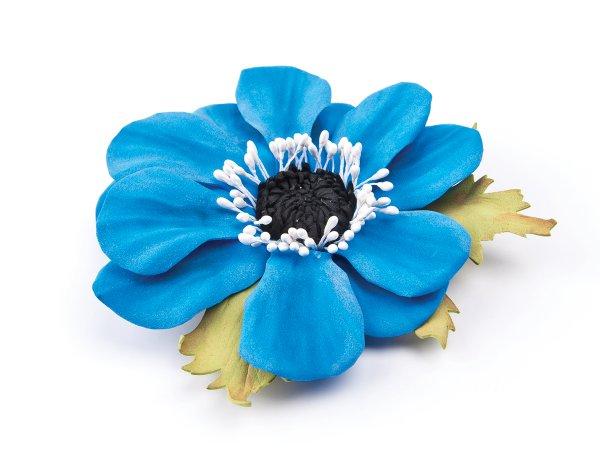 Брошь-заколка цветок голубой из фоамирана