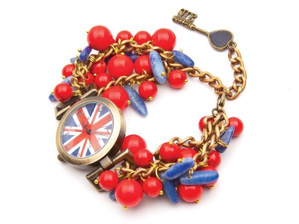 """Часы кварцевые """"Британский флаг"""" из коралла и лазурита"""