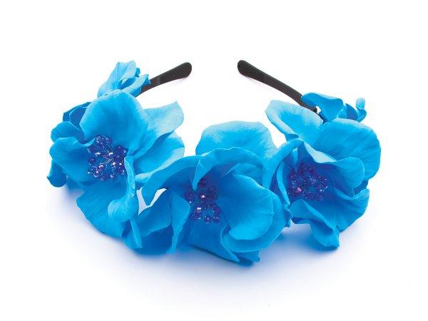 Ободок из голубых цветов из фоамирана со стеклярусом