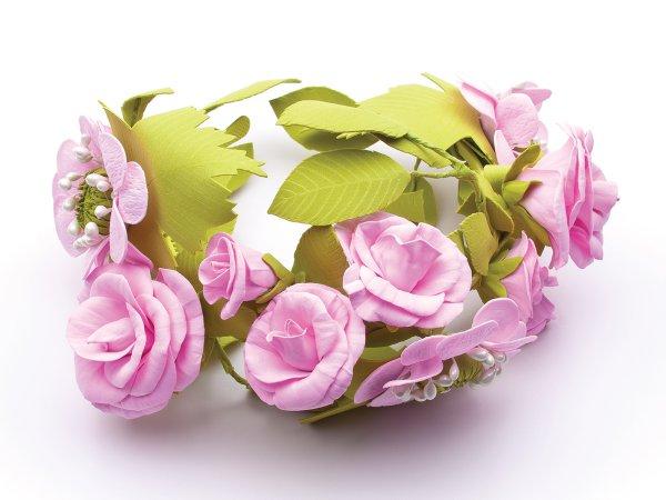 Ободок розовые цветы из фоамирана