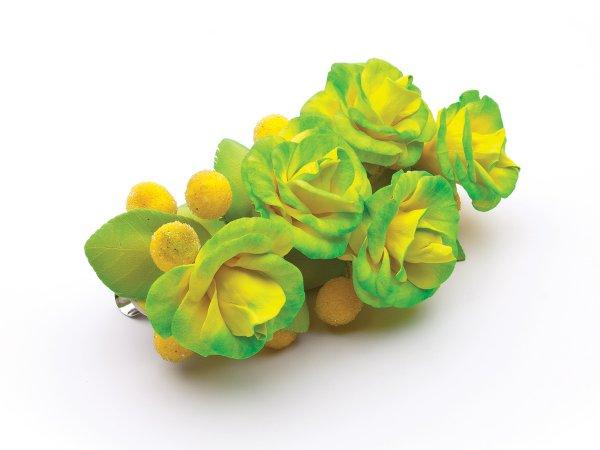 Заколка-зажим желтые розы из фоамирана