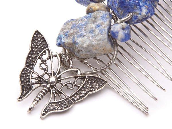 Гребень из лазурита с бабочкой
