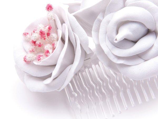 Гребень широкий с цветами из фоамирана