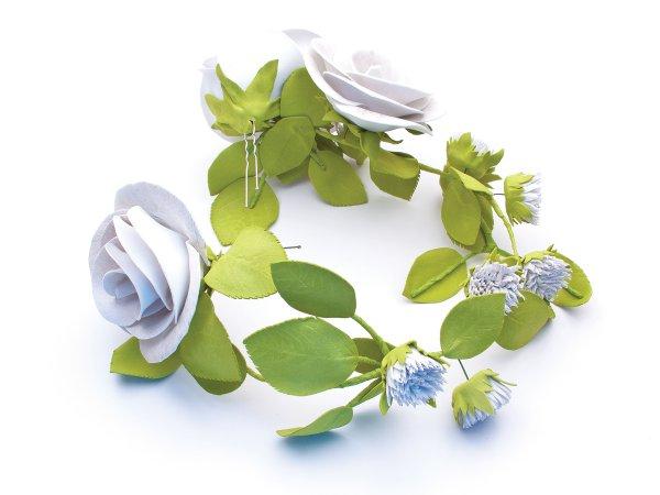 Украшение для волос бело-серебристые цветы