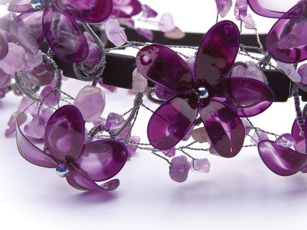 Ободок из аметиста и цветов (витраль)