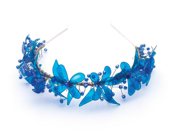 Ободок с синими цветами (техника витраль) со стеклярусом