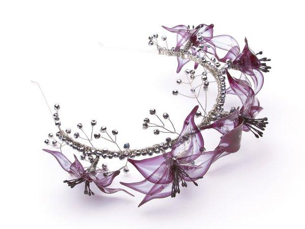 Ободок из черных лилий (витраль) и стекляруса
