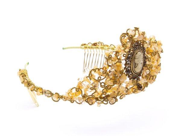 Диадема-корона из цитрина с камеей