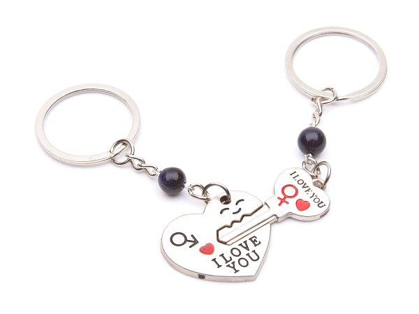 Брелоки набор из 2 шт Сердце и ключик с авантюрином