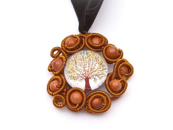Колье-ошейник с коричневым авантюрином и деревом