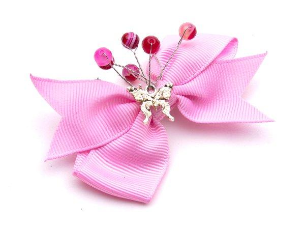 Заколка-прищепка розовый бантик с агатом