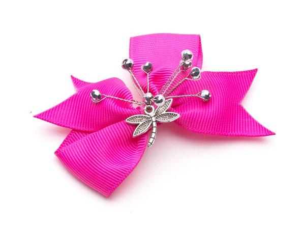Заколка-прищепка розовый бантик со стеклярусом