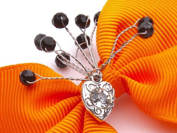 Заколка-прищепка оранжевый бантик со стеклярусом