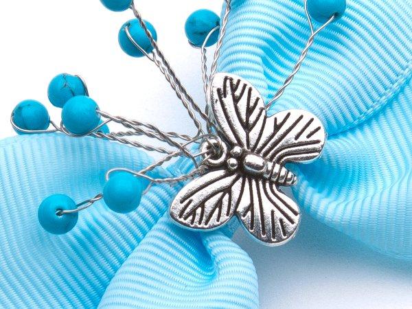 Заколка-прищепка голубой бантик с бирюзой