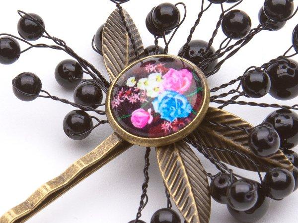 Заколка-невидимка с агатом и цветочным кабошоном