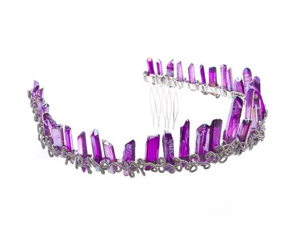 Диадема-корона из сиреневого кварца