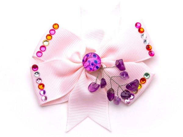 Набор из двух розовых заколок-бантиков с аметистом