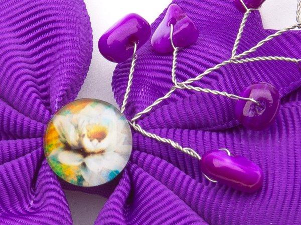 Набор из двух фиолетовых заколок-бантиков с перламутром