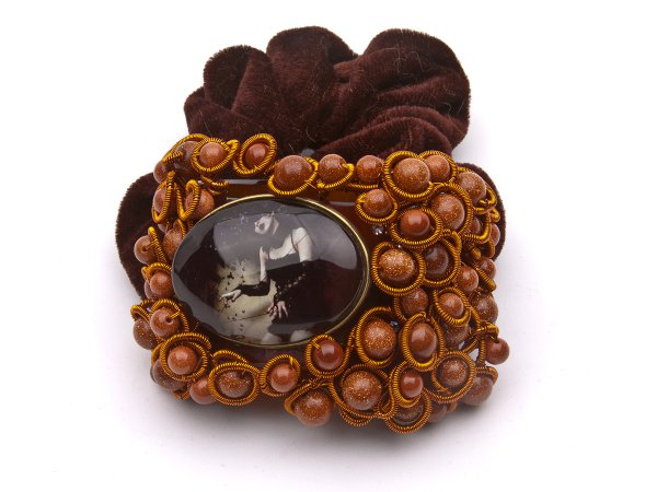 Заколка-резинка винтажная с коричневым авантюрином