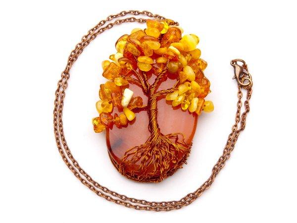 Кулон Дерево из сердолика и янтаря