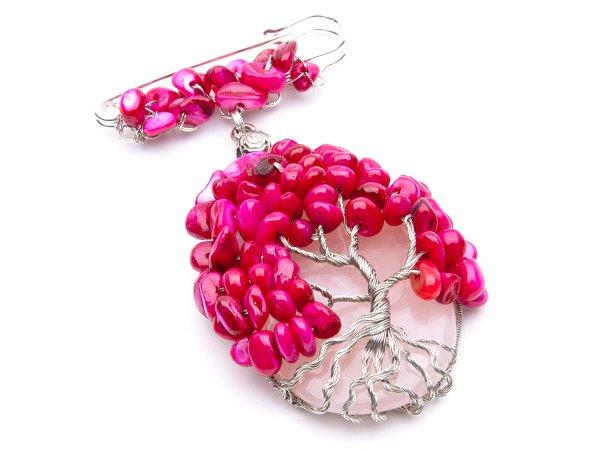 Брошь-булавка Дерево из розового кварца и перламутра