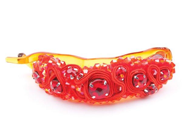 Заколка-банан односторонний красный