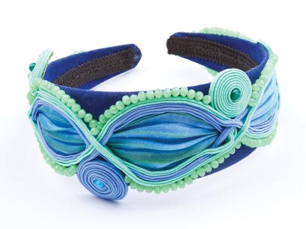 Ободок салатово-голубой с лентой шибори и сутажем