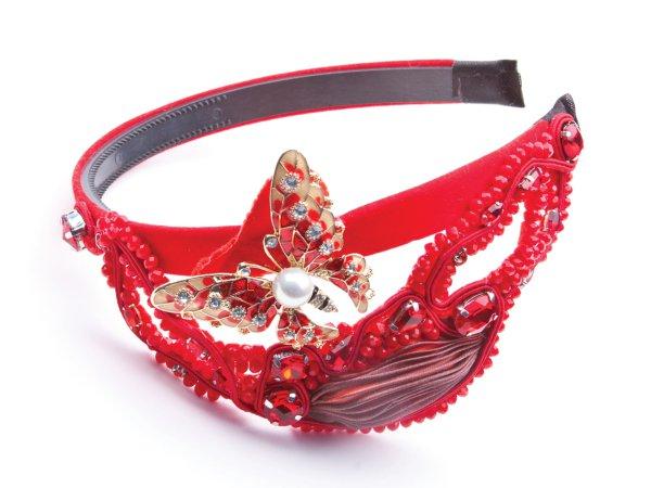 Ободок красный с бабочкой Великолепный век в современном стиле