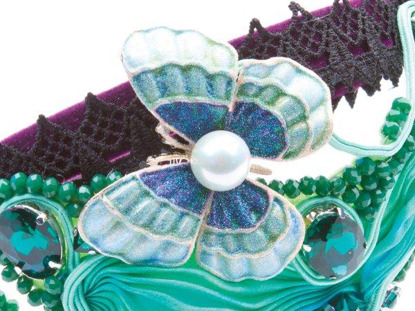 Ободок зеленый с бабочкой Великолепный век в современном стиле
