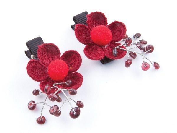 набор из 2 заколок-прищепок цветы с гранатом