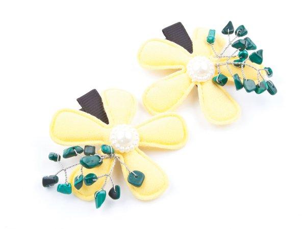 Набор из 2 заколок-прищепок желтые цветы с малахитом