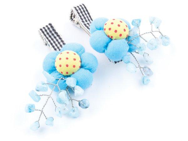 Набор из 2 заколок-прищепок голубые цветы с аквамарином