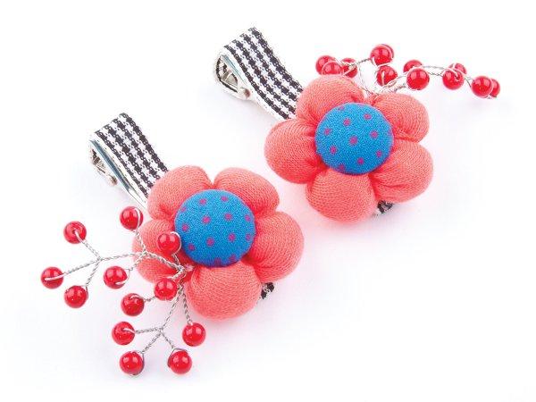 Набор из 2 заколок-прищепок с красными цветами и кораллом