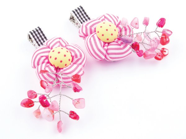 Набор из 2 заколок-прищепок с цветами и перламутром