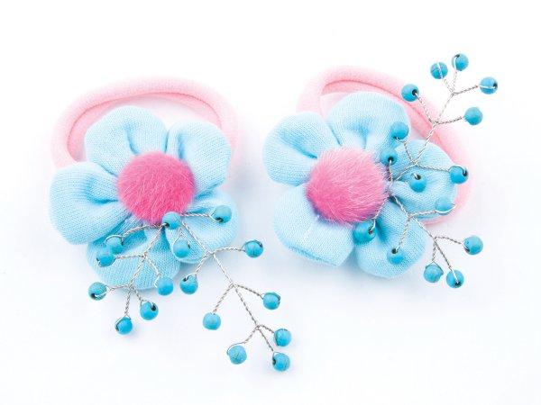 Набор из 2 заколок-резинок с голубыми цветами с бирюзой