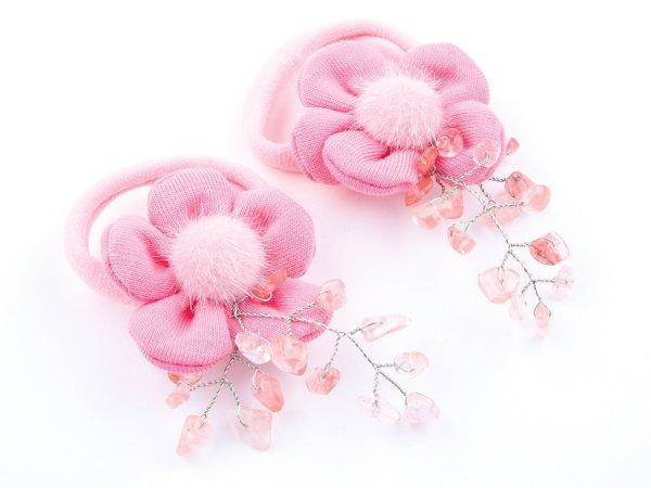 Набор из 2 заколок-резинок с розовыми цветами