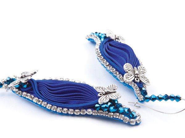 Серьги синие с лентой шибори